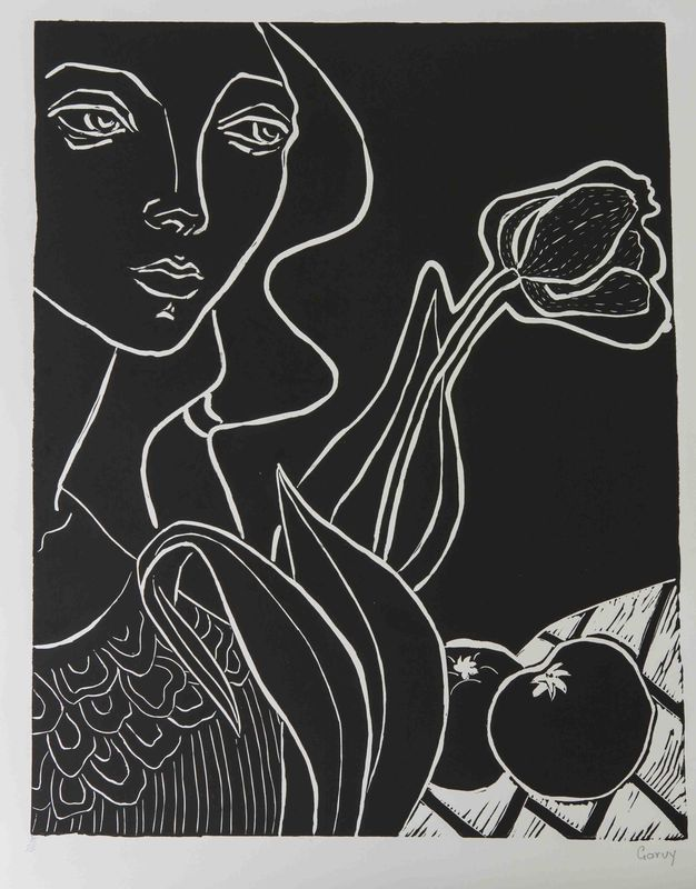 14 Untitled (Woman with flower and fruit) - - nd - Linocut on paper - 61.5 x 47 cm.JPG